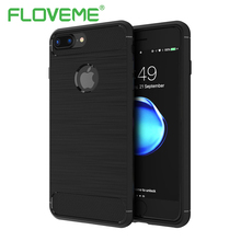 FLOVEME Silicone TPU Case For iPhone 7 Slim Durable Carbon Fiber Hard PC Anti-knock Hybrid Metal Brushed Cover For iPhone 7 Plus