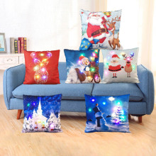 1Pc Creative Colorful Linen LED Merry Christmas Pillowcase Cushion Cover Home Office Decoration Christmas Decor Gifts 45*45cm