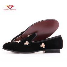 new Bee metal men velvet shoes party and wedding men loafers Luxury brands DG men's dress shoes fashion men's flats