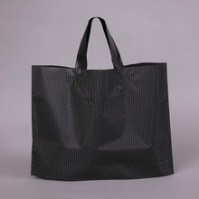 Black Thick Plastic Clothes Shopping Bag with Handle, Plastic Boutique Shoes Gift Packaging Bag, 50 Pack