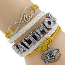 NFL Ravens Multi-Strand Friendship Infinity Charm Bracelet Baltimore Rugby Football Basketball Hockey Ball team Purple White