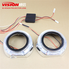 Free Shipping IPHCAR Car Styling China Car Accessories Hid Bi Xenon Projector Lens LED Angel Eyes Projector Shroud