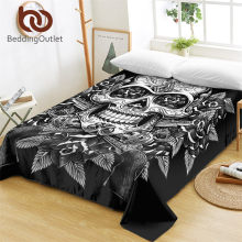 BeddingOutlet Floral Skull Bed Sheets One Piece Flowers Vintage Flat Sheet Soft Bedding Sugar Skull Gothic Bedspreads sabanas(China)