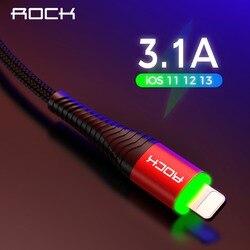 Светодиодное зарядное устройство ROCK, 3,1 A, кабель для iPhone X 8 7 6 Max XR, быстрая зарядка, передача данных
