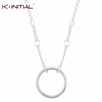 Kinitial 1Pcs 925 Silver Forever Circle Pendant Necklace Popular Long Chain Choker Cute Bar Necklaces Female Wholesale Necklac