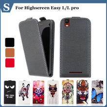 High quality fashion cartoon pattern flip up and down leather case for Highscreen Easy L L pro,Free gift