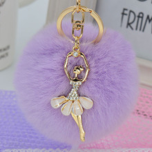 LNRRABC Fashion Women Rabbit Fur Cony Hair Dancing Angel Rhinestone Ball Pom Pom Charm Car Keychain Handbag Key Ring Pendant