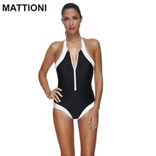 MATTIONI Women One Piece Swimsuit Swimwear Women Sexy Backless Patchwork Swimming Suit Women's Swimming Body Suits beach wear(China)