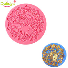 Delidge 1 pcs Lady Pattern Cake Mold Silicone Hollow Flower Fondant Mold Cake Decorating Molds Silicone Round Hollow Lace Mold