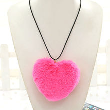 2017 New Black/Gray/Rose Red/Black/Pink 10cm Heart Faux Fur Pendant Necklace Long Black PU Leather Choker Necklaces For Women