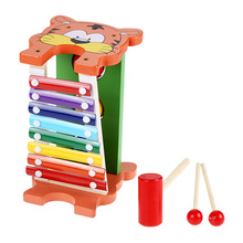 Musical Knock Tables Toy Cartoon Tiger Design Knock PianoToy Wooden Muscical Instruments Early Educational Toys Birthday Gift(China)