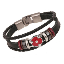 Fashion Japanese Anime Bracelet For Teenager Men Women NARUTO Stud Charm Bangle Leather Woven Cuff Bracelet Bead Hand Jewelry(China)