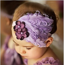 Purple hair accessories for Baby Girls flower Feather headband