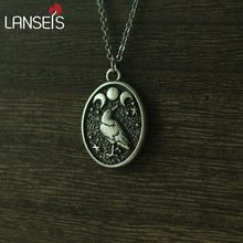 lanseis 1pcs Handmade Black RAVEN In Moon pendant Raven and Triple Moon Vintage birds necklace girls boy nart jewelry(China)