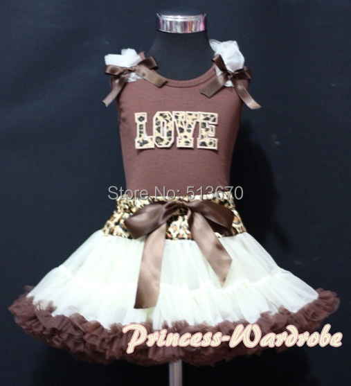 Valentine Brown Pettitop Top in Leopard LOVE Ruffles Cream Brown Leopard Pettiskirt 1-8Y MAPSA0250<br>