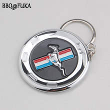 BBQ@FUKA 1pcs Car Metal Horse 3D Emblem Badge KeyChain keyring Key Chain Ring Fit For Mustang GT Car-Styling Car Accessories(China)