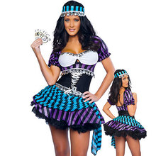 New arrive gypsy costume Traveling Gypsy Fortune Teller Costume with Fancy Dress for Halloween w1182(China)
