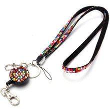New   2015  Neck Bling Rhinestone Lanyard Retractable Strap ID Badge Reel Phone Key Holder