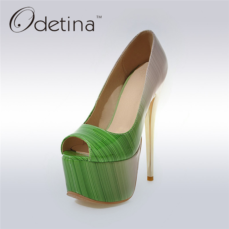 Odetina 2017 New Fashion Women Very High Platform High Heels Gradient Pumps Stiletto Thin Heel Sexy Party Shoes Big Size 31-48<br>