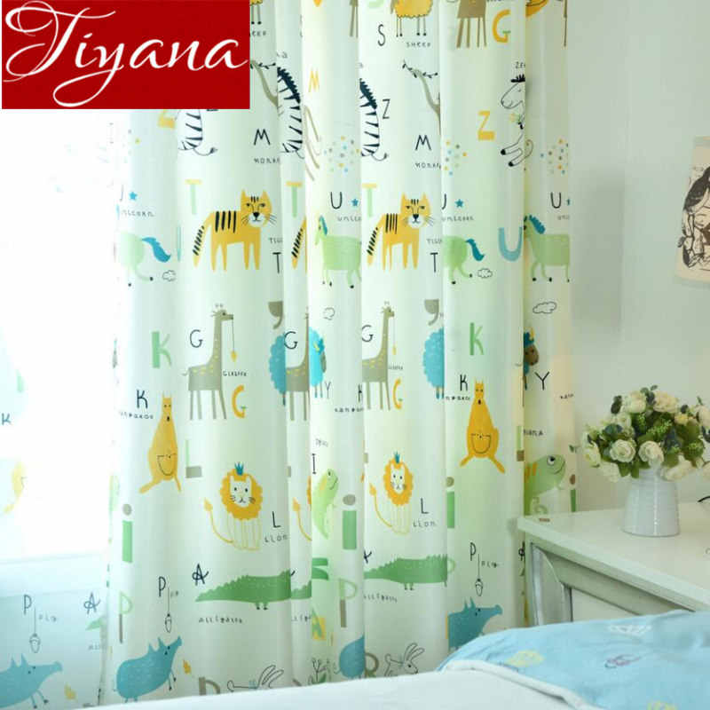 Cartoon Curtains for Kids Boy Room Living Room Tulle Curtains for Windows Bedroom Drapes Print Sheer Fabrics Treatment T&213 #30
