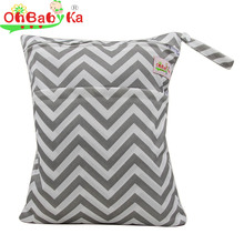 OhBabyKa Baby Diaper Bags Reusable Wet Dry Bag Double Zipper Waterproof Diaper Cover for Baby Changing Bag Washable Nappy Bags