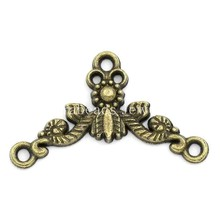Doreen Box Lovely Connectors Findings Flower Vine Antique Bronze 26x15mm,100PCs (K02178)(China)
