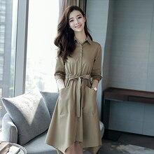 2018 spring new Korean ladies simple ladies waist long trench coat spring autumn fashion temperament Square