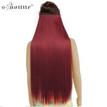 SNOILITE 24inch Synthetic Girl Hair Piece Long Straight Clip in Hair Extension One Piece Half Full Head Hairpiece(China)