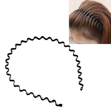 5Pcs/Lot Women Girls Black Wave Metal Hair Band Headband Sports Biker Hair Accessorries