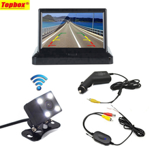 4.3'' Wireless Car Rear View System Foldable LCD Car Reverse Rearview Monitor + Car Backup HD Reverse Rear View Cameras DC 12V