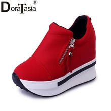Buy DoraTasia size 35-40 Fashion Women High Heel Wedge Women Shoes Woman Zipper Pumps Summer Ladies Spring black red casual shoes for $15.93 in AliExpress store