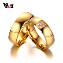Vnox Simple Wedding Rings for Women Men Elegant AAA CZ Stones Gold-color Ring Alliance Promise Engagement Band Gift