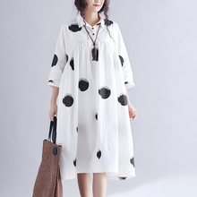 2017 Summer Women Dress New Printing Dots Loose Cotton Dress Pluz Size for Women Dresses