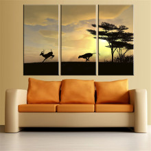 Unframed Canvas Painting Wolf Chased Deer Oil Painting Canvas Wall Art Grassland Scenery Sunset HD Poster Home Decoration 3Pcs