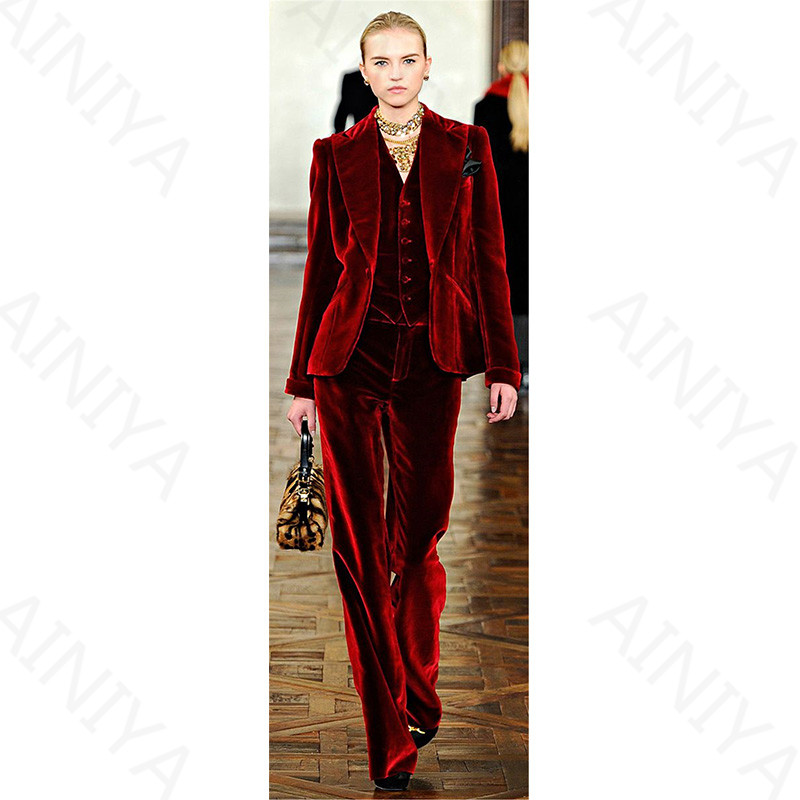2-1 Wine Red Velvet Elegant Pant Suits Costumes for Women Office Business Suits Formal Work Wear 3 Piece Sets Office Uniform Styles