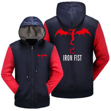 WISHOT IRON FIST Dragon logo Clothing Hoodie Winter Jacket Fleece Mens Sweatshirts Thicken Zipper Fleece Coats Men Casual US Siz