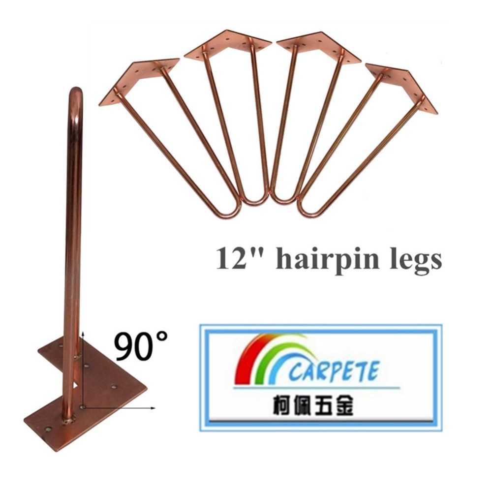 12 height unfinished  rhodium metalwork furniture legs for wood table 4 legs ,sofa legs red color<br>