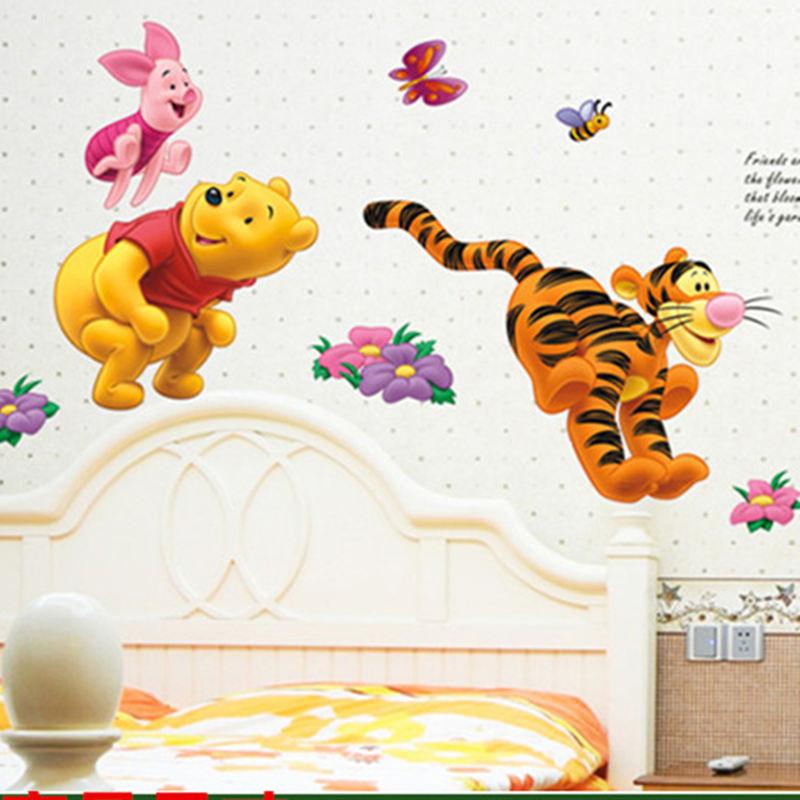 HTB1 u9Fb6gy uJjSZR0q6yK5pXay - Baby Bear Cartoon DIY Wall Stickers For Kids Children Room Decaor 3d Window Bear Winnie Pooh Nursery Wall Decals