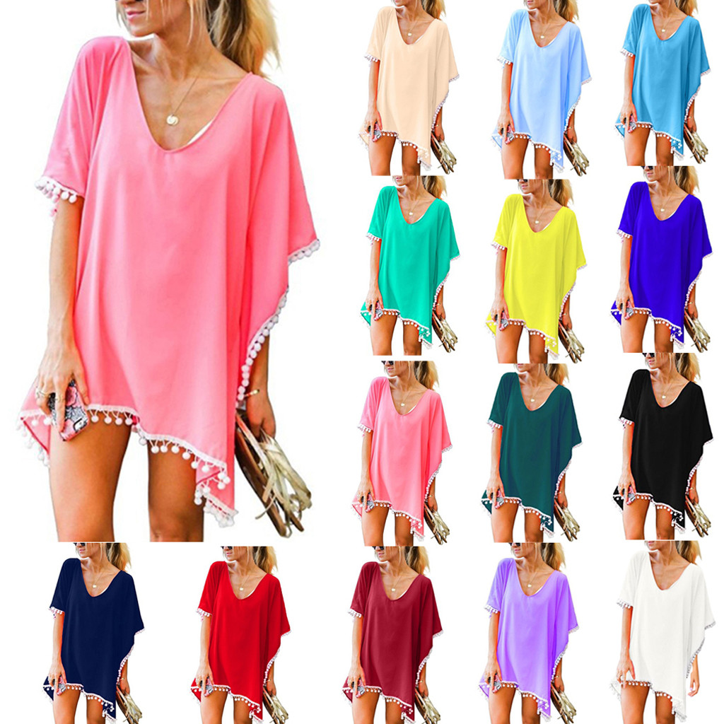 MUQGEW Dress Tunic Bikini Cover-Up Bathing-Suit Tassels Chiffon Kaft Sexy Elegant Beach title=