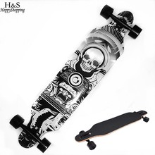 Skull Pattern Skateboard Children Road Longboard Skid Resistance Skate Board 4 Wheels Anti-shock Downhill Street Long Board(China)