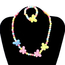 1set Necklace and Bracelet Candy Color Butterflies Baby Safe Necklace Beauty Wafer Princess Children Jewelry(China)