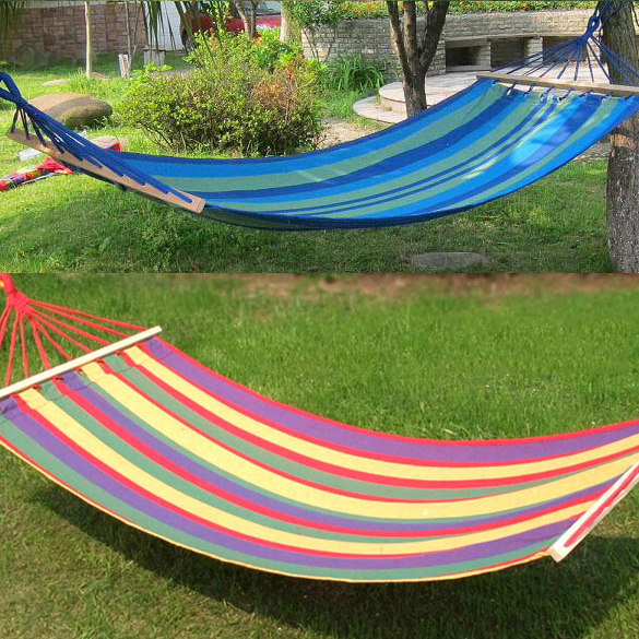 High Strength Canvas Fabric Outdoor Furniture Double Wood Bar Hammock Outdoor Camping Swing Hanging Bed Brand Travel Kits  HS<br><br>Aliexpress