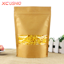 50pcs/lot 12*20cm Kraft Paper Zip Lock Bag  Food Storage Packing Bag Stand Up Bag Doypack Resealable Bags for Tea Nut Cookies