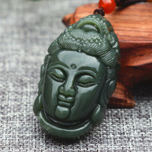 Natural Green HETIAN Jades Pendant Necklace Carved Guanyin Bodhisattva Patron saint Pendant Men's Nephrite Jades stone Jewelry(China)
