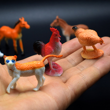 12Pcs/lot PVC Simulation Farm animals Model Of horse donkey pig chicken duck dog cows sheep Model Toys for kids gift