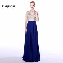 Baijinbai Long Royal Blue 2017 100% Real Picture A Line Crop Top Back Zipper Appliques Beading Sequined Chiffon Prom Dresses 547(China)