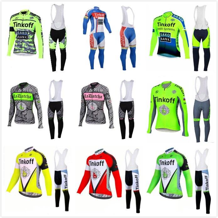 Ropa ciclismo invierno hombre 2017 Tinkoff saxo bank cycling clothing set long sleeve winter thermal fleece cycling jersey kits<br>