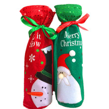 New 2pcs Christmas Wine Bottle Covers Bags Dinner Table Decoration For Home Party Decor Green Santa Claus Red Snowman Hot Sale