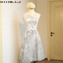SOCCI Weekend Gray Lace Cocktail Dress 2017 Tea Length Sleeveless robe de Formal Wedding Party Dresses Sweet Girls Evening Gowns(China)