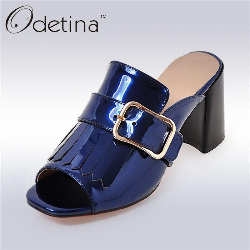 Odetina Brand 2017 New Summer Women Square Buckle Slingbacks High Heels Sandals Open Toe Pumps Tassels Mules Dete Pour Femme<br>